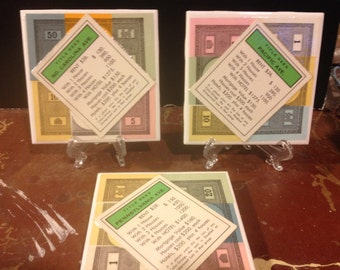 Set of 3 Monopoly Tile Coasters - Green Properties