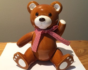 Vintage Takahashi Ceramic Teddy Bear - 1980s Movable Appendages