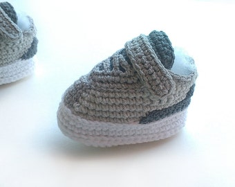 Crochet baby sneakers, Inspired Jordan Reveal grey baby booties, Baby shoes, crochet baby sport shoes