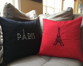 "Paris Eiffel Tower Decorative Pillow Covers 16""x16"""