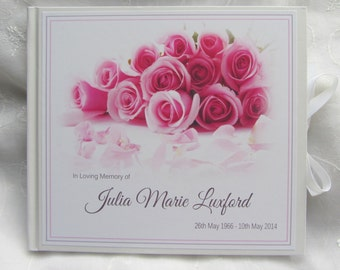 BOOK OF CONDOLENCE * Roses * Bereavement * Funeral  -  Guest Book & Box
