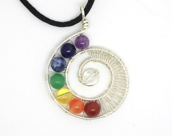Chakra Gemstone and Wire Pendant