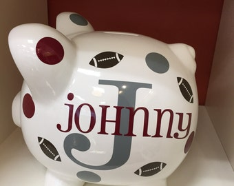 Children's Personalized Ceramic Piggy Bank-Piggy Bank-Football Piggy Bank- Kid's Monogrammed Piggy Bank- Kid's Custom Piggy Bank-Gift- Boys