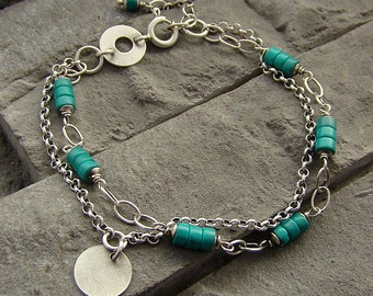Sterling silver and turquoise - bracelet