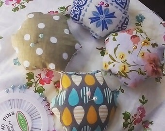 Lucky dip mini patchwork pin cushion pods ( set of 2)