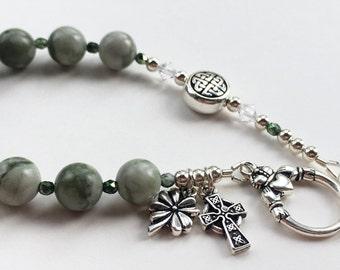 Semi-Precious Celtic Irish Rosary Bracelet,  Catholic Bracelet, Godmother Gift, Confirmation, Irish gift