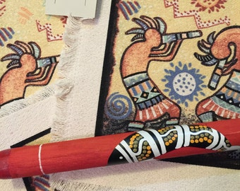Kokopelli Placemats and Pipe, A Set Of Three Native American Design Placemats with Hand Made Bonus Pipe, Free Shipping Inside the US