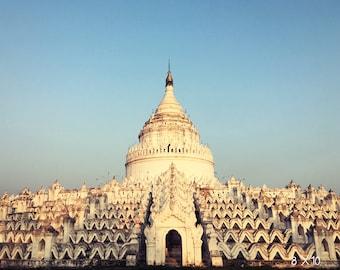 White Pagoda Photo - Vintage Style Stock - Sagging White Pagoda - Buddhist Wall Art - Travel Stock Photos - Royalty Free - Atypical Pagoda