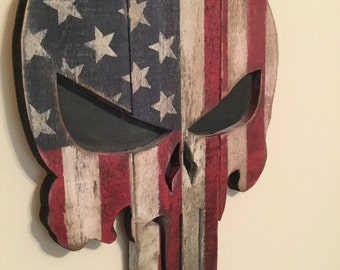 Rustic Wooden Punisher Flag Wall Hang