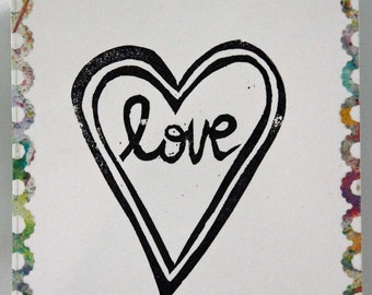 """Un-mounted handcarved rubber stamp """"Love"""""""