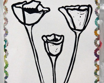 """Un-mounted, hand carved rubber stamp """"Poppies"""""""