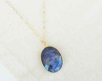 Dyed Sapphire necklace -Dark Blue Necklace- Gemstone necklace- Boho Necklace- Dark blue gemstone necklace