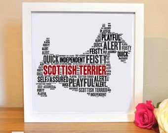Scottish Terrier Print Personalised For Dog Lovers | Scottie Dog | Printable Word Art | Bespoke Gift | Digital File | Print Yourself