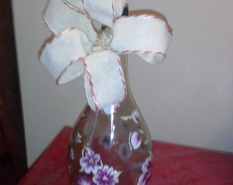 Decorated Hand Painted Wine Bottle.*