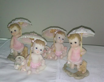 Set Of Four (4) Babies Bearing Gifts!! Ceramic Figurine Girls With Umbrellas* Great For Baby Shower!!
