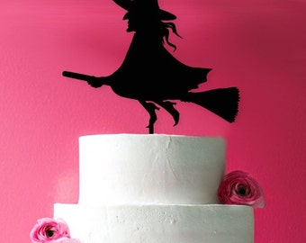 Witch Riding a Broom Cake Topper  (MIC-FJM6604089)