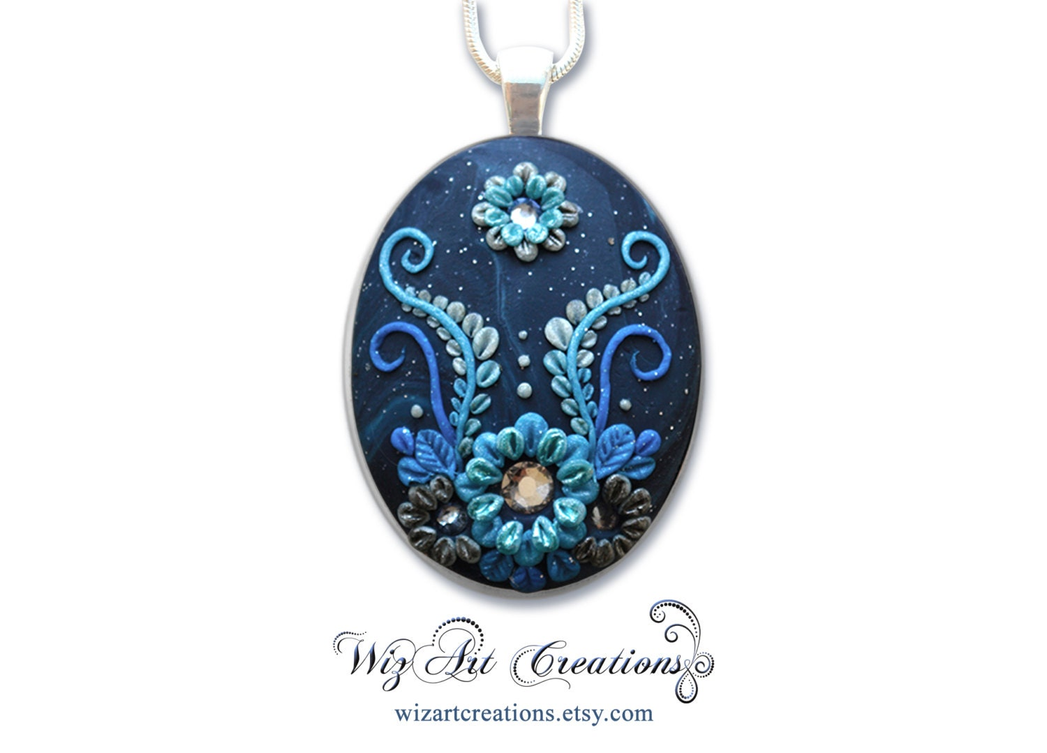 Galaxy Flower Handmade Polymer Clay Pendant With Swarovski