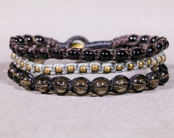 Grey and Black Beads Bracelet- Beaded bracelet- 3 Strings Bracelet B72