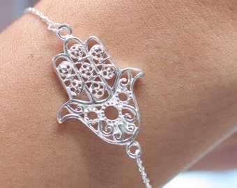 Silver wired hamsa bracelet, Sterling silver bracelet, Silver bracelet, Boho silver bracelet, Silver hamsa charm  (BS-3)