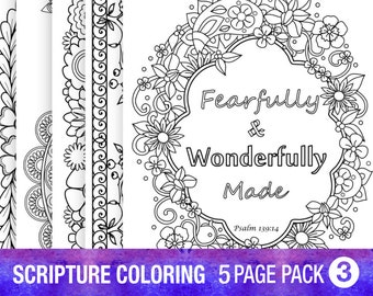 5 Bible Verse Coloring Pages Set Inspirational Quotes DIY Adult Printable Sheets PDF Instant