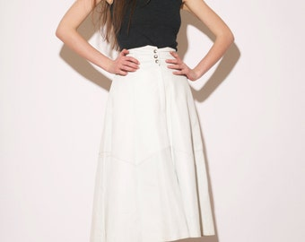 Vintage 80s leather pleated skirt