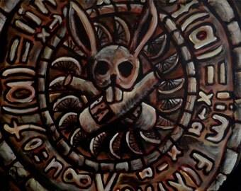 Aztec Rabbit orignal Outsider Art acrylic painting