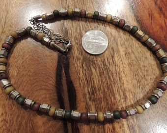 Ceramic  and Metal Beaded Necklace