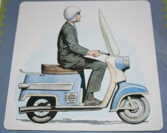 Large Vintage Flash Card - Retro Motorcycle Print - Motor Scooter Print - Vintage Blue Motorbike - 1960's print