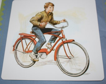 Large Vintage Flash Card - Boy on Bicycle Print - Retro Bicycle Print - Red Bicycle Print - 1960's - Pagemaster - Mother's Day offer