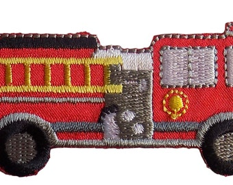 Red Fire Engine Truck Embroidered Iron On Applique