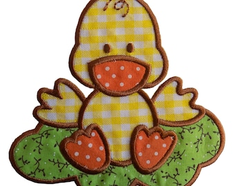 Especially Baby Large Gingham Duck Embroidered Iron On Applique