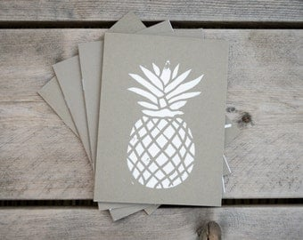 A5 notebook grey PINEAPPLE linocut