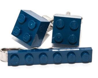 Dark Blue Lego Brick Cufflinks and Lego Plate Tie Clip  Handmade Cuff links