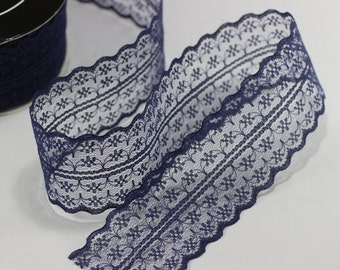 45 mm Navy blue Lace trim  - Seam(1.77 inches) Binding hem tape chantilly lace trim for bridal, baby, lingerie, hair accessories  -