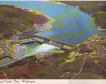 Vintage Grand Coulee Dam, Washington State. Stamped Post Card. 1994