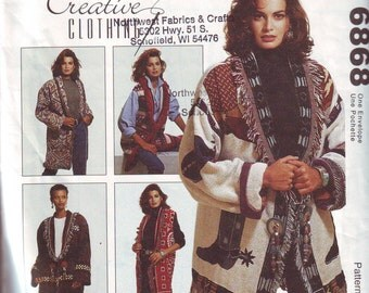 Women's UNCUT Jacket Pattern by McCall's Crafts. One Size Fits Misses 6-16 From 1993.