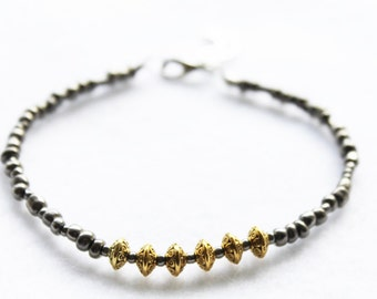 Gold Brass Tribal Beads and Grey Seed Beaded Bracelet
