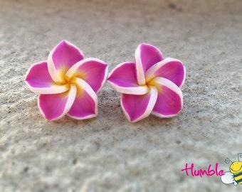 Plumeria Earrings - Pink  earrings, Frangipani Flower, polymer clay, Made in Canada