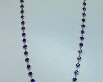 "Raindrops Necklace - Sapphire/Gold 36"" Swarovski crystal"