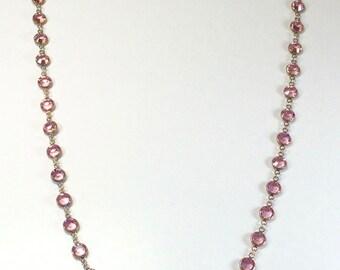 "Raindrops Necklace - Light Rose/Rhodium 36"" Swarovski crystal"