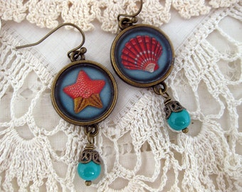 Starfish and Shell Earrings