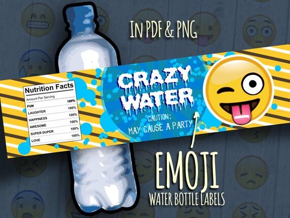 "80% Off Sale Printable Emoji Bottle Labels ""Crazy Water"" Smiley Wraps ..."
