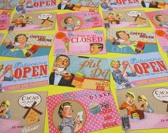 cotton fabric retro print fifties sign open closed