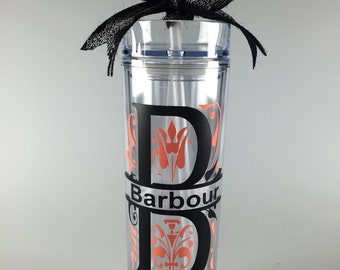Personalized letter and name water bottle/skinny tumbler with straw