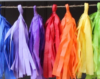 RAINBOW PAINT PARTY- tissue paper garland- rainbow party decorations- photo props- paint party decorations- rainbow tissue garland