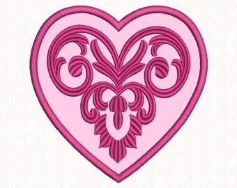 Heart Applique embroidery design, Machine embroidery, Heart Embroidery, Applique Pattern, Hearts, 4х4