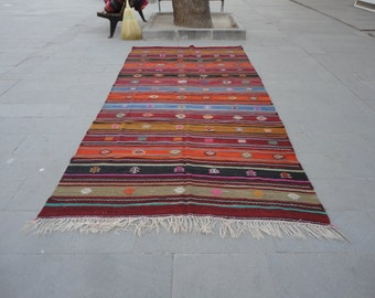 Kilim rug,hand woven Turkish vintage kilim rug,area rug,boho rug,striped design rug ,cottage decor,rustic decor,pileless 142 x 69 inches !!!