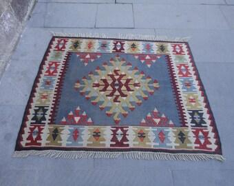 Kilim rug,Turkish vintage square rug,hand woven rug,flat woven rug,36 x 29 inches,boho rug,rustic decor rug