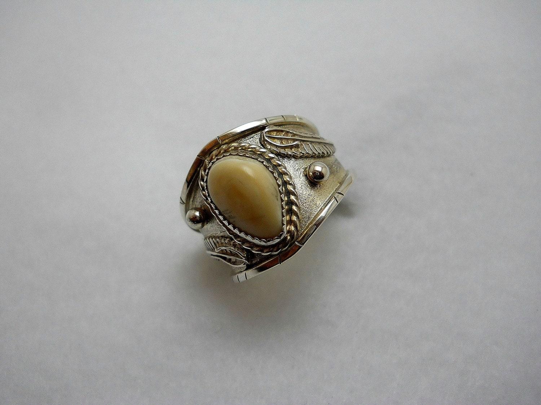 Mens Ivory Elk Tooth Ring Set In Sterling Silver