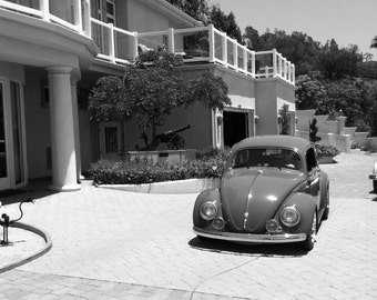 Black and White Show Car Photograph, VW bug, classic car, Volkswagen, sweet car, show car, cal look vw, custom cars, huge house, custom home